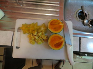 Starfruit, apple banana, and zapote