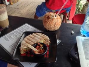 Pita sandwich and coconut water for lunch at Puerto Pirata Deli